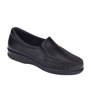SAS Twin Black Leather Comfort Slip On Loafers 6